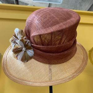 NEW & Gorgeous Molded Light Brown Sinamay Hat
